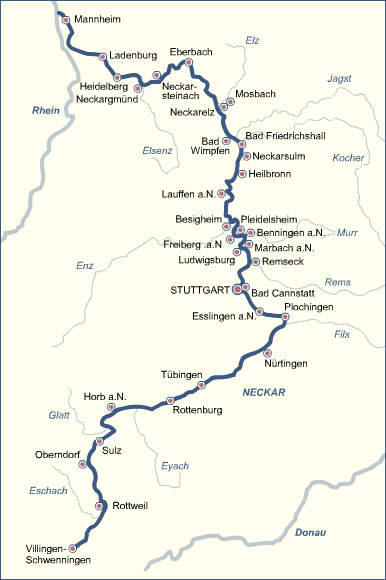 Neckarradweg Karte.Der Neckar Interaktive übersichtskarte